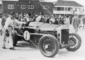 Delage 10.5 litre. Land Speed Record Car. Mrs Kay Petre. Brooklands paddock circa 1933